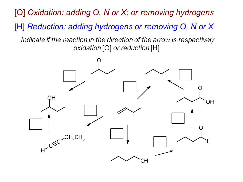 [O] Oxidation: adding O, N or X; or removing hydrogens